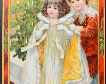 Christmas Postcard Santa Series 512 Brundage Children