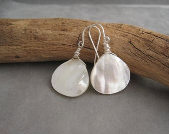 Light,  Bright and White Summer Earrings - White Earrings - Summer Jewelry - Mother of Pearl - Shell Earrings - Silver and White Earrings