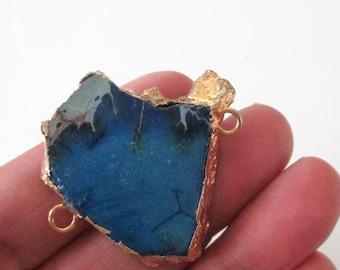 Jasper Necklace Connector - Blue Impression - Jasper Stone Focal Pendant - Gold Edged - 2 loops - Freeform Sideways Flat Slab - DIY Jewelry