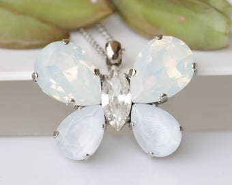 BUTTERFLY NECKLACE, Opal Crystal Necklace, Swarovski Bridal Necklace, Unique Jewelry, Bridesmaid Big Pendant, Sister Jewelry Gift,White Opal