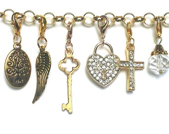 Memory Locket Dangle, GOLD CLIP CHARM for Personalized Floating Charm Locket Pendant, Clip-on Angel Wing, Key, Family Tree and More.