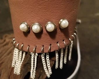 Mauve leather cuff bead & chain bracelet