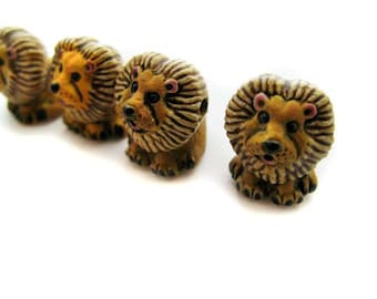 10 Large Cute Lion Beads - LG07