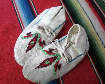 Antique Native American Indian Beaded Moccasins