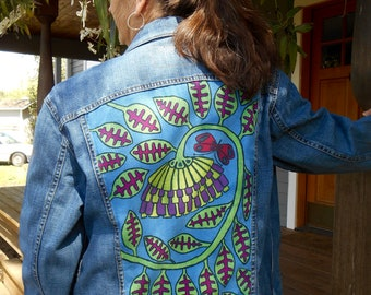 upcycled hand painted denim jacket