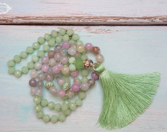 Green Silk Tassel Necklace,  Spring Gemstones Necklace, Pastel Colourful  Boho Chic Necklace, Gift for her by VintageRoseGallery