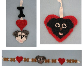 Schnauzer Christmas Ornaments and Garland Crochet Pattern In USA Terms, PDF, Digital Download