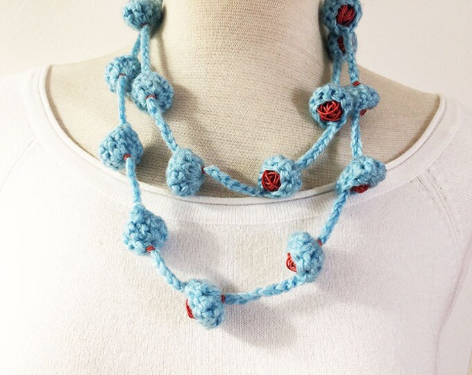 """Wool long necklace - wool """"nests"""" - recycled telephone wires - knitted wool necklace"""