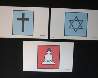 Three Religion Sign and Symbol Flash Cards - 1973 - Milton Bradley - Paper Ephemera - Unusual Wall Art