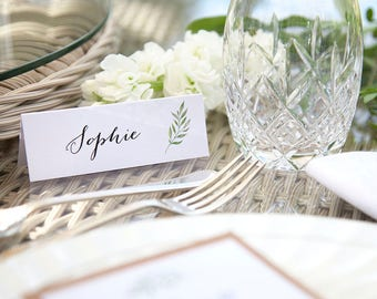 Table Place Cards Folded Rustic Vintage Pretty Green Leaf Watercolour Calligraphy
