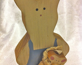 Handmade Painted Wood White Blue Mother Bunny Rabbit with Child Baby