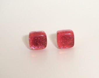 Coral Pink Stud Earrings - Pink Salmon Fused Glass Earrings - Earrings for Women -  Dichroic Glass Studs - Salmon Stud Earrings - ES 622