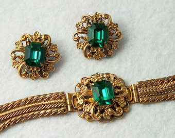 Vintage Victorian Revival Brass Rhinestone Bracelet and Earrings Set 1940s