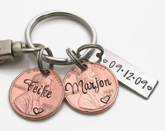 Personalized Couples Keychain, Personalized Keychain, Personalized Penny Keychain, Boyfriend Gift, Husband Wife Gift, 7th Anniversary Gift