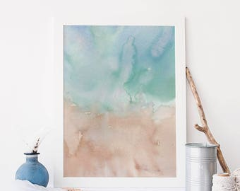 Coastal Wall Decor, Abstract Art Painting, Watercolor Print Canvas, Sandy Poster, Beach House Decor, Modern Beach Artwork, Coastal Print,