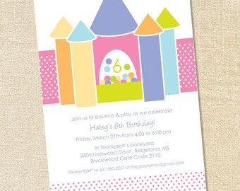 Sweet Wishes Girl's Bounce Jump House Inflatable Party Invitations - PRINTED - Digital File Also Available