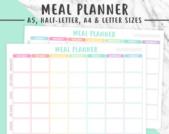 MEAL PLANNER PRINTABLE | Pastel, Meal Plan, Meal Planning, Menu Planning, Food Journal, Food Planning, Food Plan, Meals Printable
