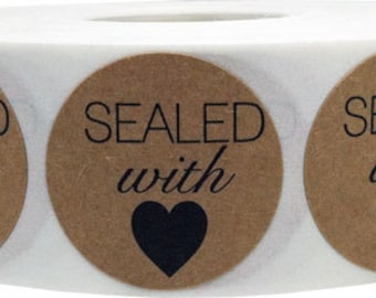"500 1"" Round Sealed with Love Natural Kraft Stickers with Black Print"