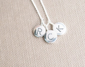 Sterling Silver Initial Charm Necklace - You Choose Three letters. New Mom Necklace. Mom, Grandma Necklace, Custom Necklace