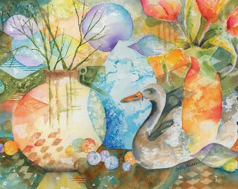 Abstract Still Life PRINT, vases, tulips, swan, from original watercolor