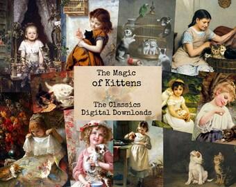 The Magic of Kittens - Digital Ephemera Classics, Digital Images, Vintage Art, Instant Download, Digital Paper, Digital Collage