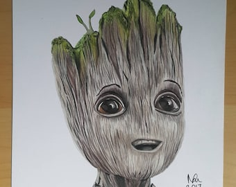 ORIGINAL DRAWING Baby Groot Guardians of the galaxy prismacolor pencil drawing superhero marvel art A4