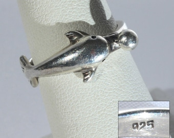 Playful Sterling Silver Dolphin Ring, Petite Figural, Size 6