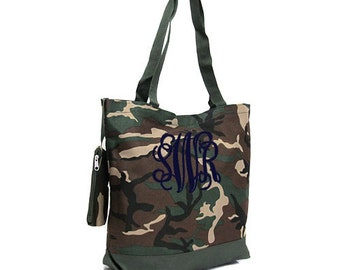 Monogram Camo Tote Bag, Personalized Camo Tote Bag, Monogrammed Camouflage Tote Bags, Personalized Camo Canvas Tote Bag, Camo Bags