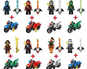 Lot of 8 Lego Ninjago figures with customized bikes