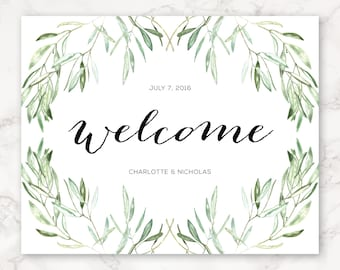 Printable Wedding Welcome Sign - Watercolor - Olive Branches - Nature - Greenery - Wedding Decor