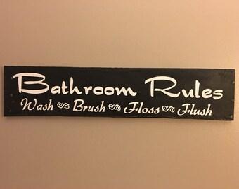 Bathroom rules sign, bathroom decor, bathroom signs, home decor, wood signs, pallet sign