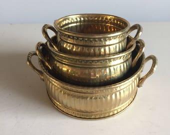 Vintage Brass Pots - Set of 3   Brass Decorative Dish Matching   Home Decor Tray Planter