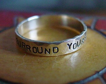 4.5mm Hand Forged CUSTOM sterling silver SENTIMENT ring - Creative Mode