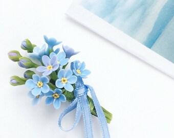 Forget-me-not boutonniere, blue flower boutonniere, blue boutonniere, groomsmen button hole, rustic boutonniere, flower boutonniere