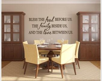 Bless the Food Vinyl Decal Wall Decal Vinyl Wall Decor Dining Room Kitchen Vinyl Housewares