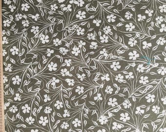 Jenean Morrison fabric Lovelorn Feathered Flowers JM102 Gray white floral flowers Freespirit sewing quilting 100% cotton fabric by the yard