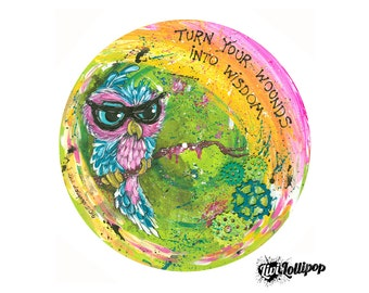 """Owl painting 12"""" vinyl record art- owl illustration, girls bedroom wall quotes, gifts for girls, owl gifts owl art bedroom art steampunk art"""