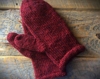 Crimson red wool mittens for women