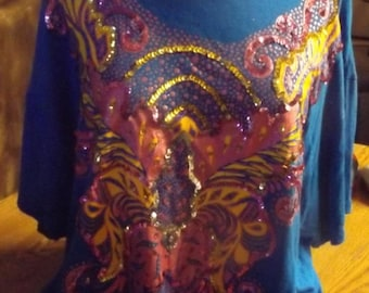 SALE Blue Sequined Disco Top Shirt Large - XL 80's
