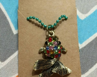 Bronze Rhinestone Fish Charm Necklace