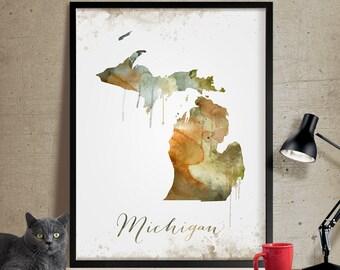 Michigan Wall Art, Art Print Michigan Decor, Michigan Map Art, Watercolor State, Watercolor Michigan Print ArtWork (301)