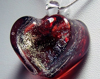 Red and gold chunky solid glass heart pendant -  lampwork glass with gold dichroic