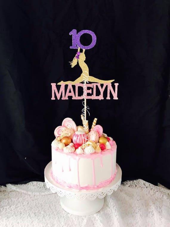 Any Name Gymnastics Cake Topper Any Age Girls Birthday