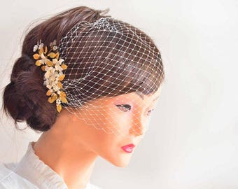 Bandeau veil clip, Pearl headpiece with bandeau veil, Birdcage veil headband, Bridal hair clip with veil,  Birdcage veil headband