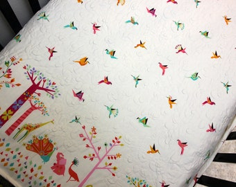 Bird Baby Bedding, Turquoise Pink Girl Quilt, Modern Baby Bedding