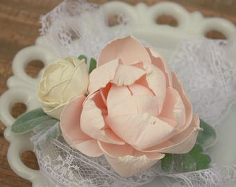 Blush pink corsage, ivory wrist corsage, sola wood flower, vintage sheet music, ecoflower, vintage lace tie on wrist corsage, prom flower