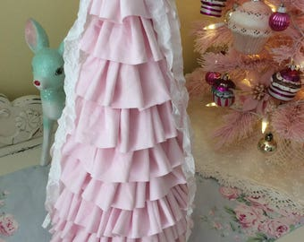 RA Pink  Fabric Ruffle Tree