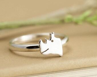 Rhino Ring - Sterling Silver Rhino Jewellery - Rhino Gift