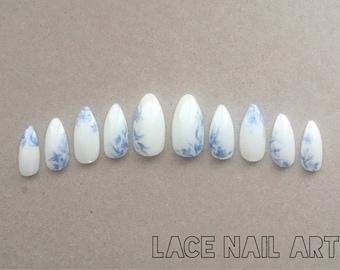 White & Blue Soft China - Handpainted Press On False Nails