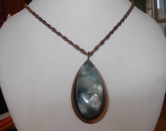 Mid Century Copper Necklace, Blue Green Lucite Medallion Pendant, Large Teardrop Shape